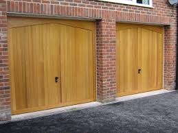 A pair of wooden garage doors